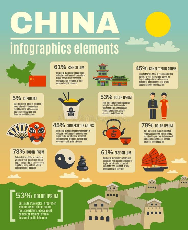 Infographic prezentaci plakat Na chińczyku ilustracji