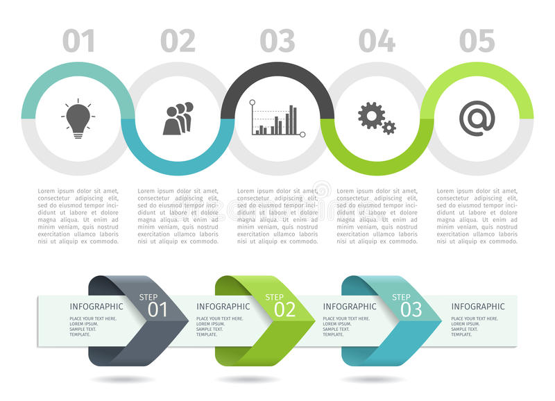 Infographic process chart and arrows with step up options. Vector template. vector illustration