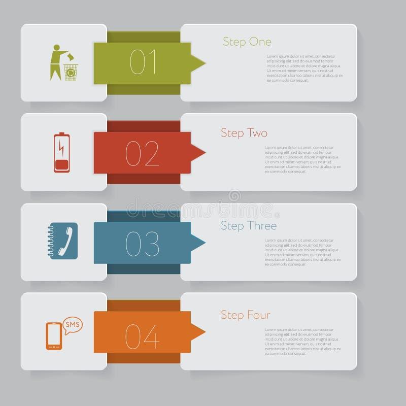 Infographic Progetti il grafico del modello delle insegne di numero o la disposizione del sito Web illustrazione di stock