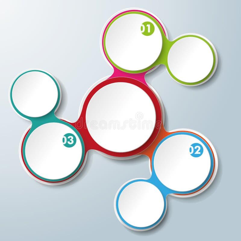 Infographic projekt Barwiący Przykuwa Białych okręgi 3 opci royalty ilustracja