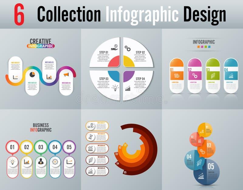 Infographic projekt i marketingowe ikony możemy używać dla obieg układu, diagram, sprawozdanie roczne, sieć projekt Biznesowy con ilustracja wektor