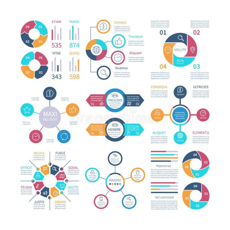 Infographic projekt Pasztetowe mapy i krok okrążają diagram, tekstów układów prętowych wykresy i histogramy, Infographics wektoro ilustracji