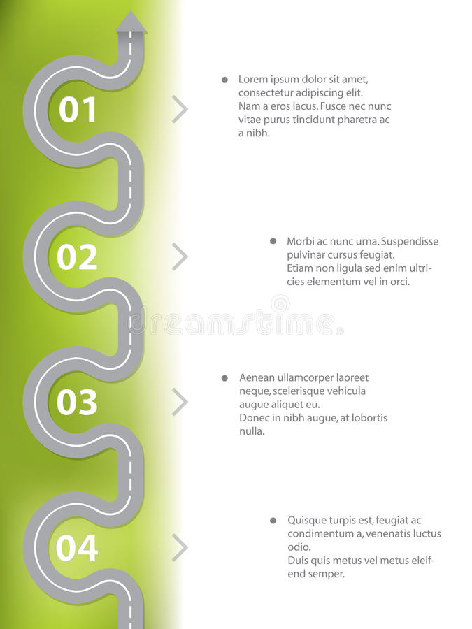 Infographic projekt z curvy drogą ilustracji