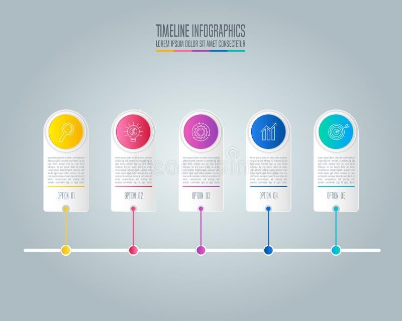 Infographic projekta biznesowy pojęcie z opcjami, częściami lub pro 5, ilustracji