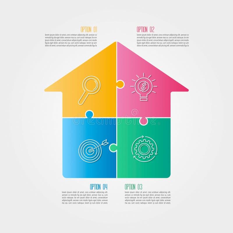 Infographic projekta biznesowy pojęcie z opcjami, częściami lub pro 4, ilustracji