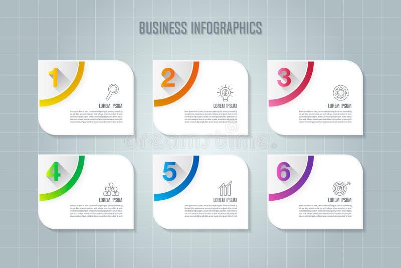 Infographic projekta biznesowy pojęcie z opcjami, częściami lub pro 6, ilustracja wektor