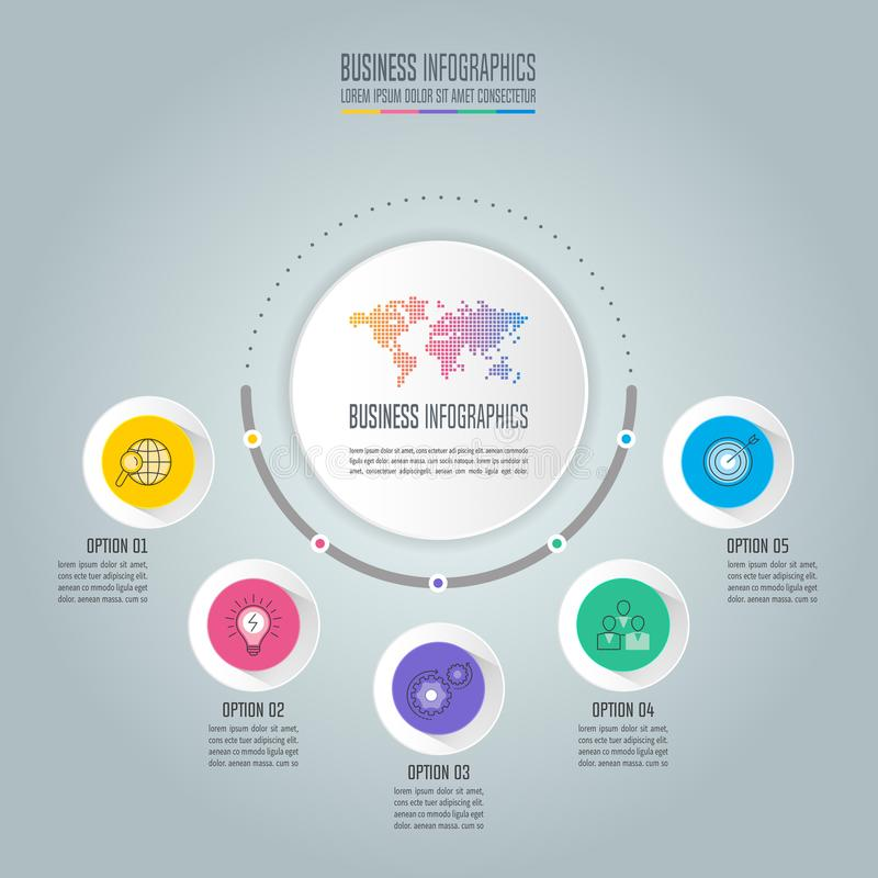 Infographic projekta biznesowy pojęcie z opcjami, częściami lub pro 5, royalty ilustracja