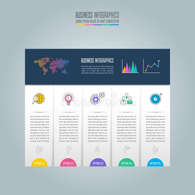 Infographic projekta biznesowy pojęcie z opcjami, częściami lub pro 5, ilustracja wektor