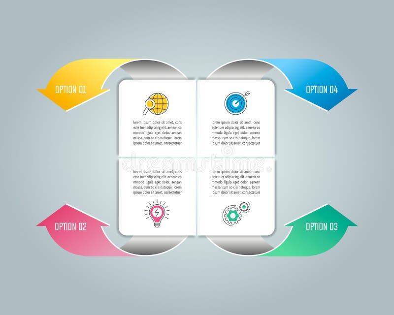 Infographic projekta biznesowy pojęcie z opcjami, częściami lub pro 4, ilustracja wektor