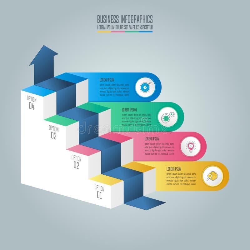 Infographic projekta biznesowy pojęcie z opcjami, częściami lub pro 4, royalty ilustracja