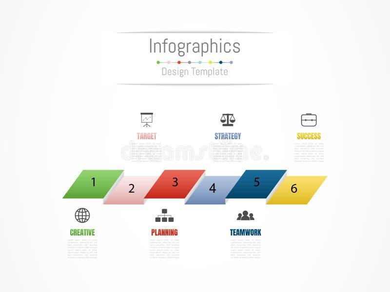 Infographic projekta elementy dla twój biznesowych dane z opcjami, częściami, krokami, liniami czasu lub procesami 6, wektor ilustracji