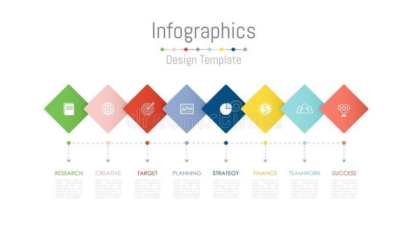 Infographic projekta elementy dla twój biznesowych dane z opcjami, częściami, krokami, liniami czasu lub procesami 8, wektor ilustracji