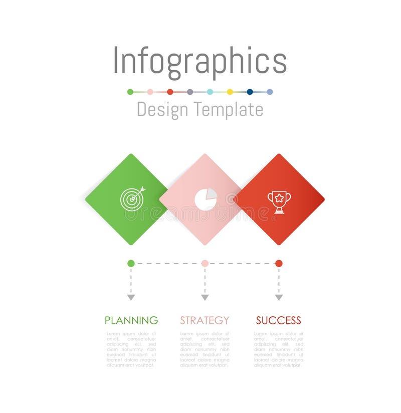 Infographic projekta elementy z opcjami, częściami, krokami, linia czasu lub procesami 3, wektor royalty ilustracja