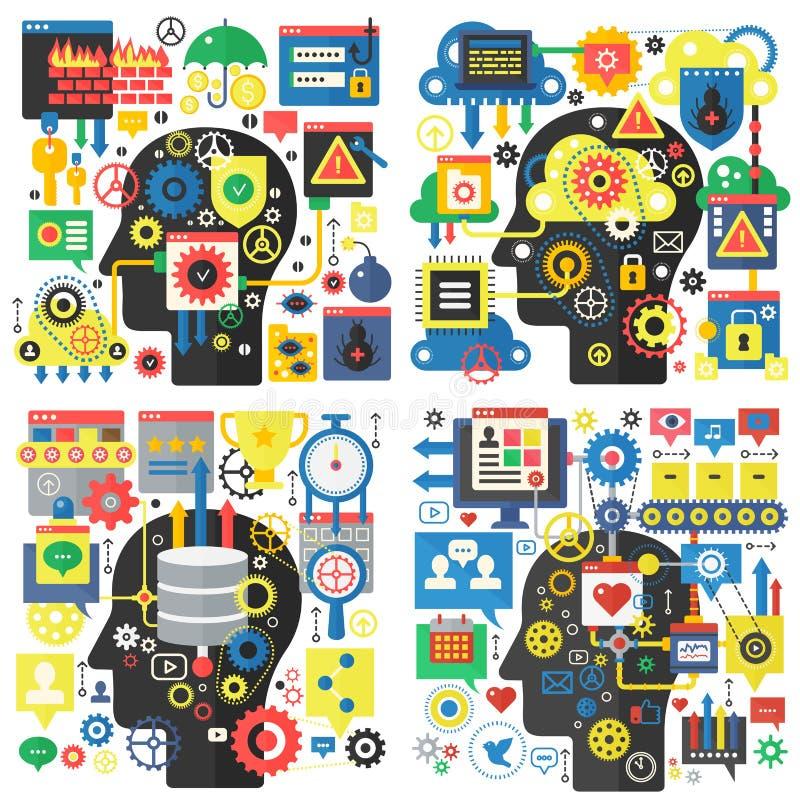 Infographic projekta płaskiej głowy podstawowy wektorowy pojęcie twórczość i badanie, ogólnospołeczni środki, globalnej sieci tec ilustracji