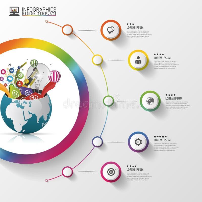 Infographic projekta szablon kreatywnie świat Kolorowy okrąg z ikonami również zwrócić corel ilustracji wektora