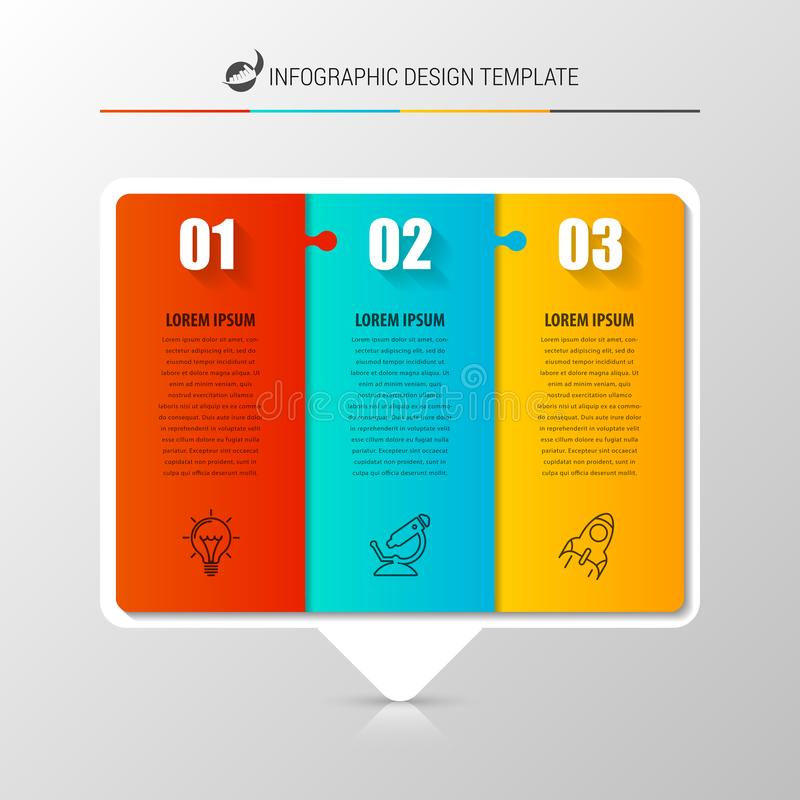 Infographic projekta szablon Kreatywnie pojęcie z 3 krokami ilustracji