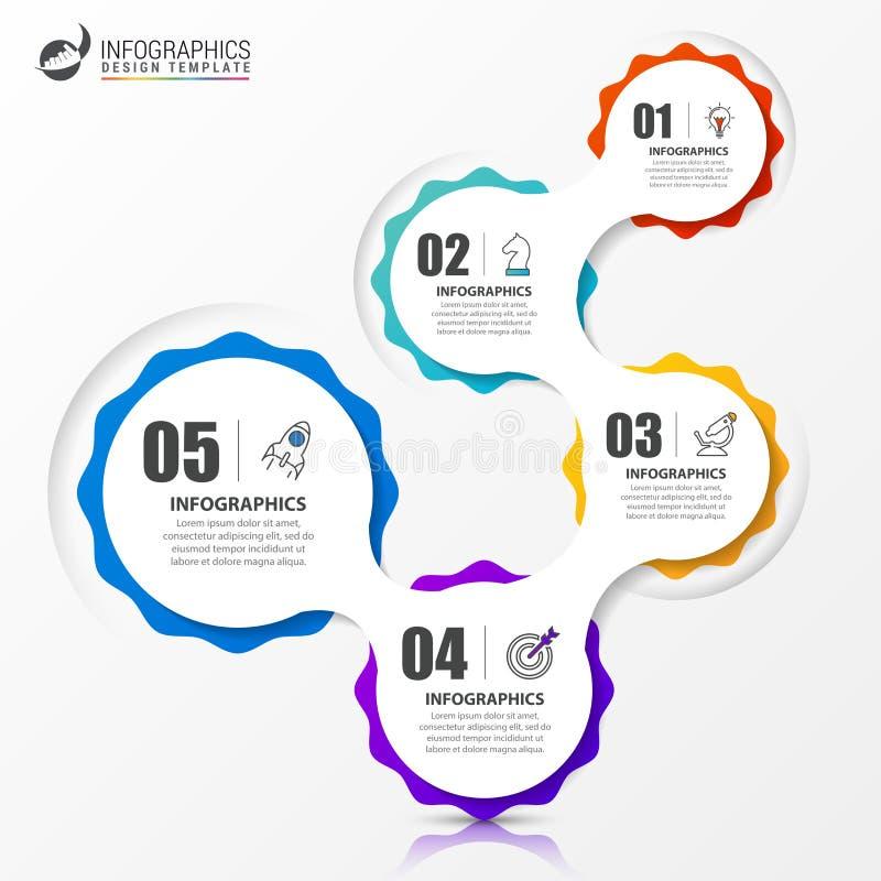 Infographic projekta szablon Kreatywnie pojęcie z 5 krokami ilustracja wektor