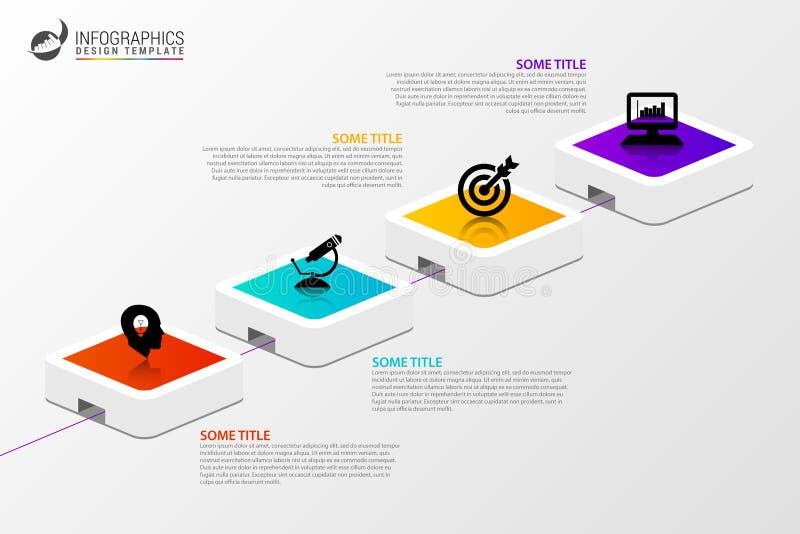 Infographic projekta szablon Kreatywnie pojęcie z 4 krokami ilustracji