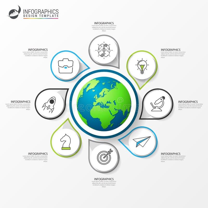 Infographic projekta szablon Kreatywnie pojęcie z 8 krokami royalty ilustracja
