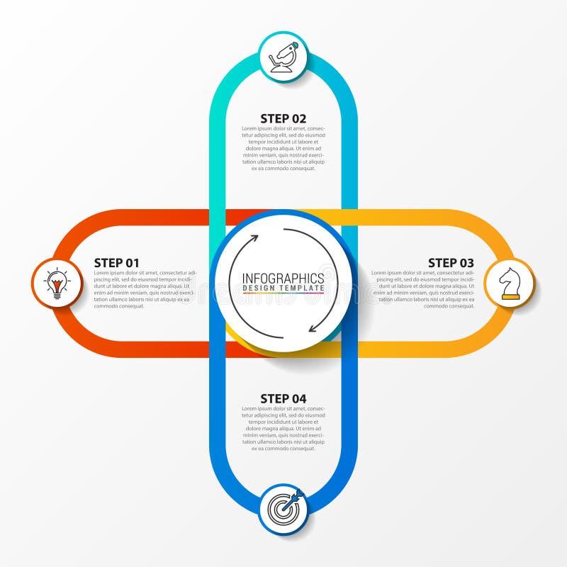 Infographic projekta szablon Kreatywnie poj?cie z 4 krokami royalty ilustracja