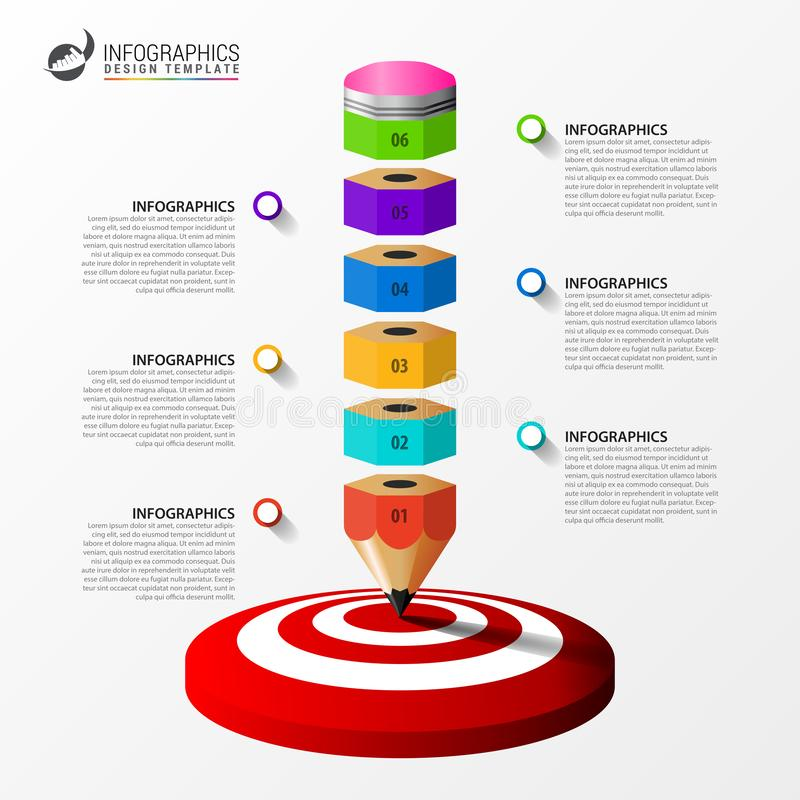 Infographic projekta szablon Kreatywnie poj?cie z 6 krokami ilustracji