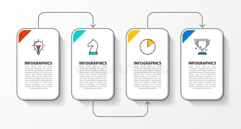 Infographic projekta szablon Kreatywnie poj?cie z 4 krokami ilustracja wektor
