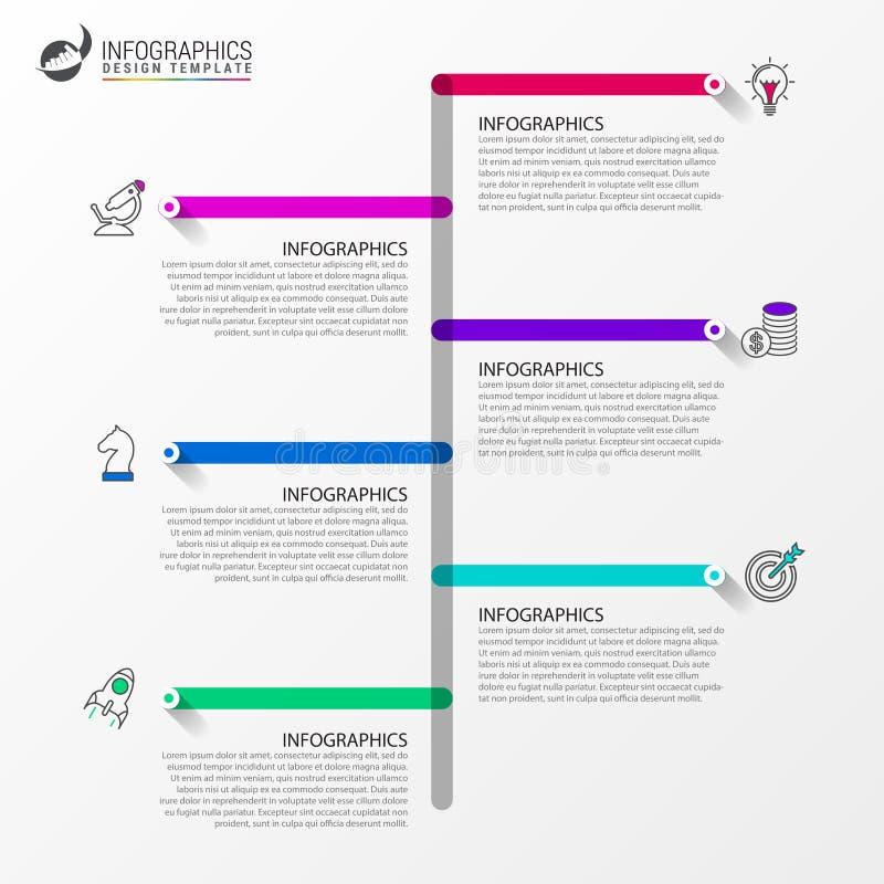 Infographic projekta szablon Linii czasu pojęcie z 6 krokami ilustracji
