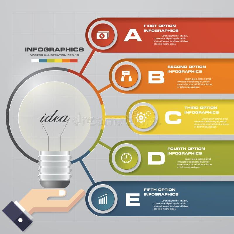 Infographic projekta szablon z biznesowymi pojęcia 5 opcjami ilustracji