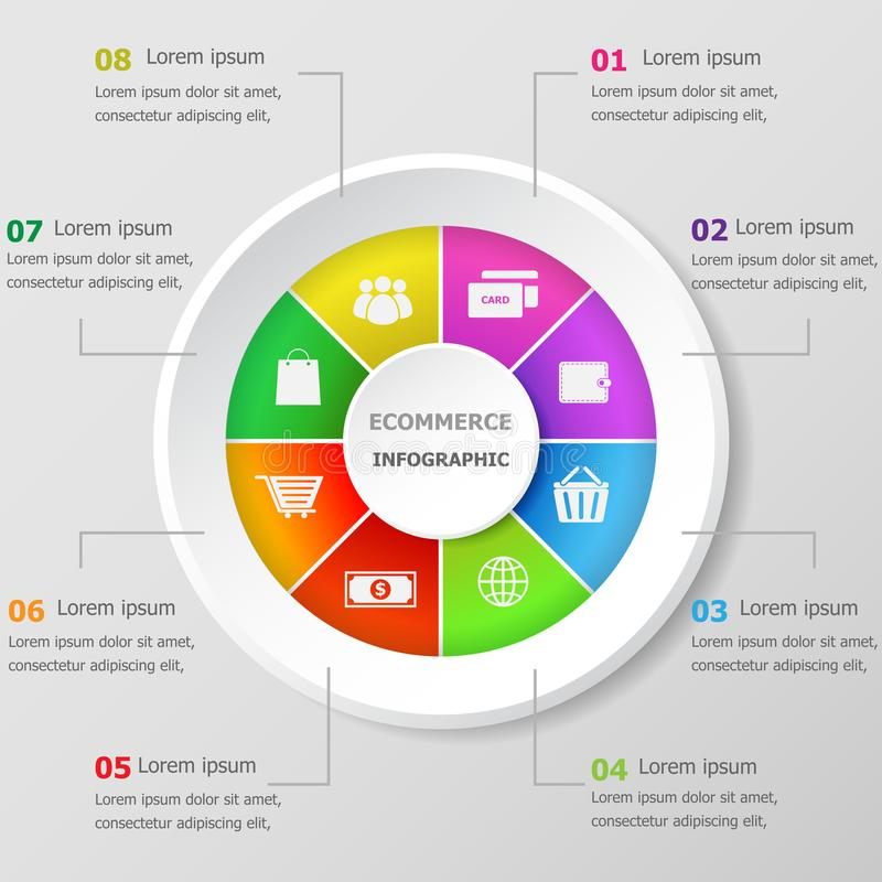 Infographic projekta szablon z ecommerce ikonami ilustracja wektor