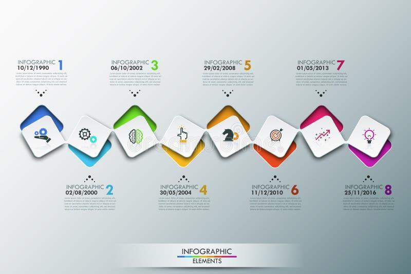 Infographic projekta szablon z linią czasu i 8 łączącymi kwadratowymi elementami royalty ilustracja