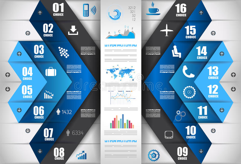 Infographic projekta szablon z papierowymi etykietkami royalty ilustracja