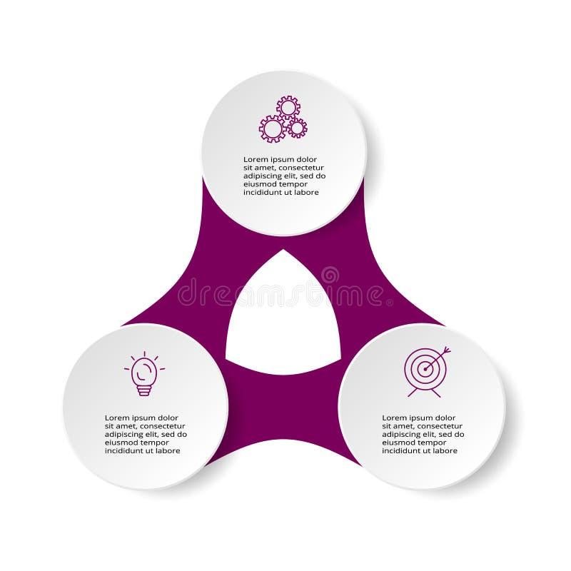 Infographic projekta wektor i marketingowe ikony dla diagrama, wykresu, prezentacji i round, sporządzamy mapę Pojęcie z 3 opcjami ilustracja wektor