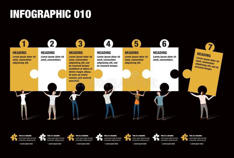 Infographic-Puzzlespiel lizenzfreie abbildung