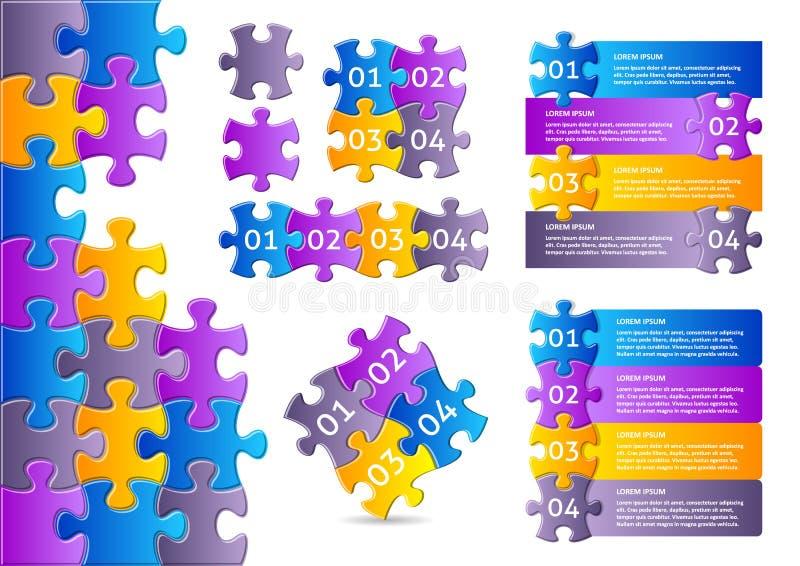 Infographic-Puzzlespiel entwirft Sammlung lizenzfreie abbildung
