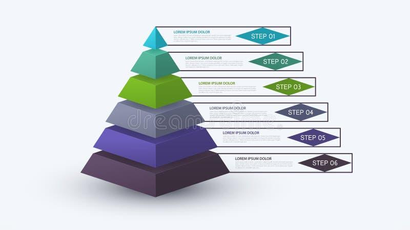 Infographic pyramid med momentstrukturen Affärsidé med 6 alternativstycken eller moment Kvarterdiagram, informationsgraf vektor illustrationer