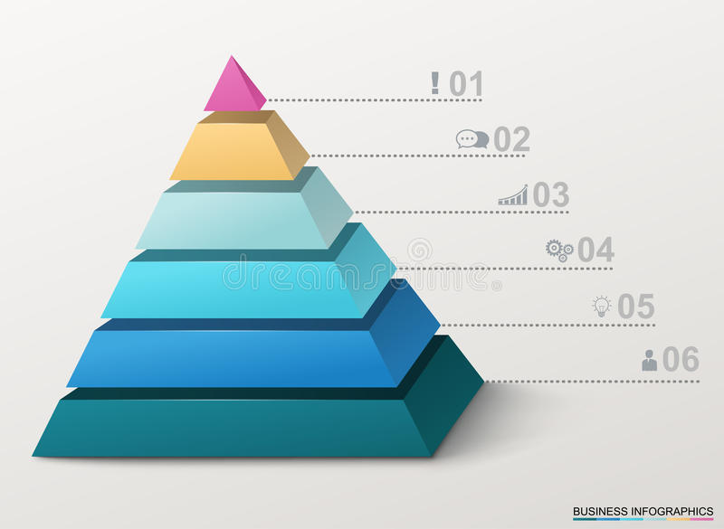 Infographic pyramid with numbers and business icons. stock illustration