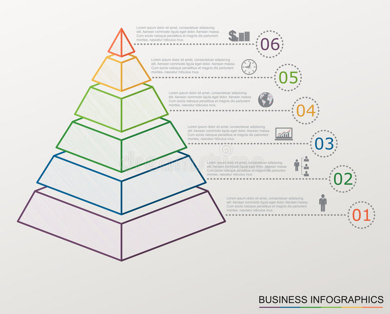 Infographic pyramid with numbers and business icons, line style. royalty free illustration