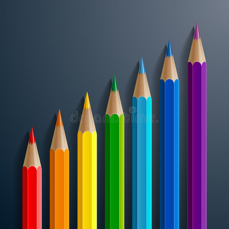 Infographic rainbow color pencils with realistic stock illustration
