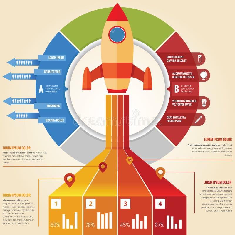 Infographic rakieta royalty ilustracja