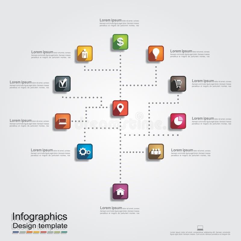 Infographic raportu szablon z liniami i ikonami ilustracja wektor