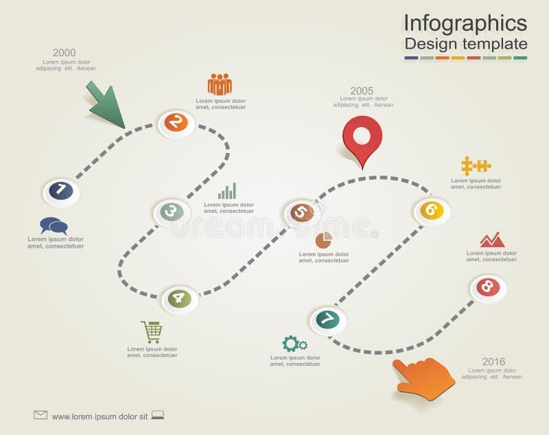 Infographic raportu szablon z strzała i ikonami royalty ilustracja
