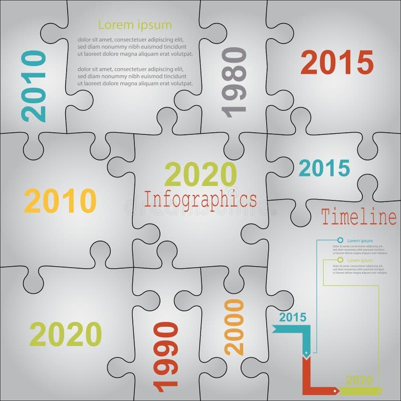 Infographic rapportmallar i pusselfigursåg stock illustrationer