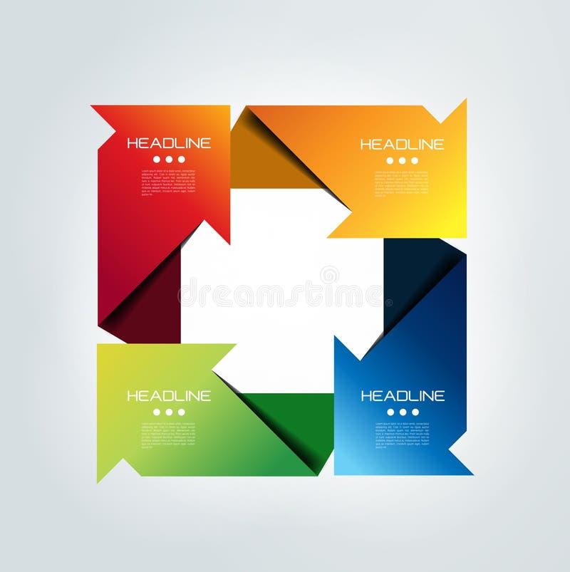 Infographic relié par place de flèche conception de 4 étapes illustration de vecteur