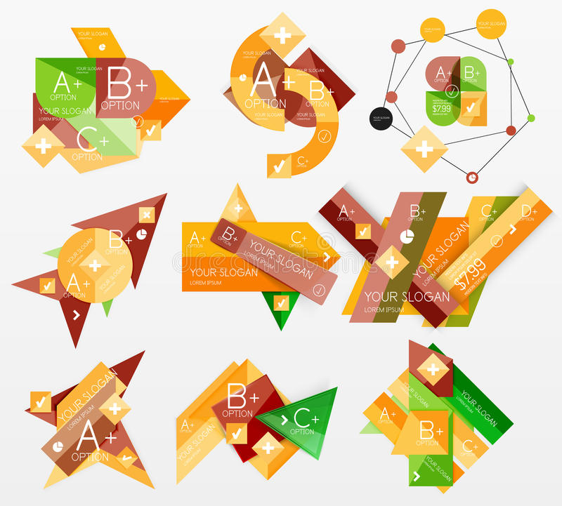 Infographic rengöringsdukorienteringar för pappers- diagram royaltyfri illustrationer