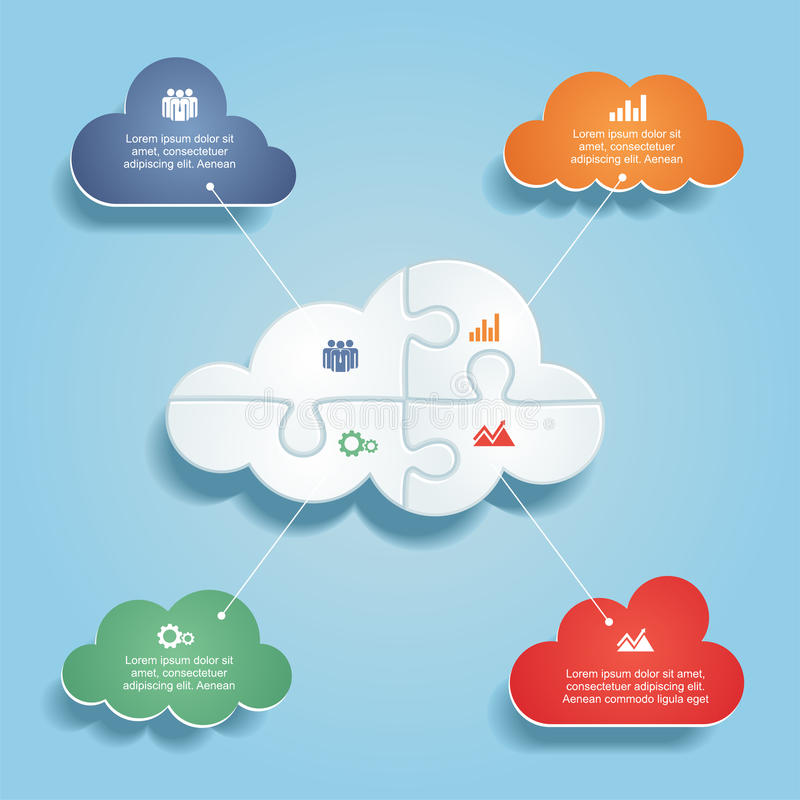 Infographic report template with clouds and icons stock illustration