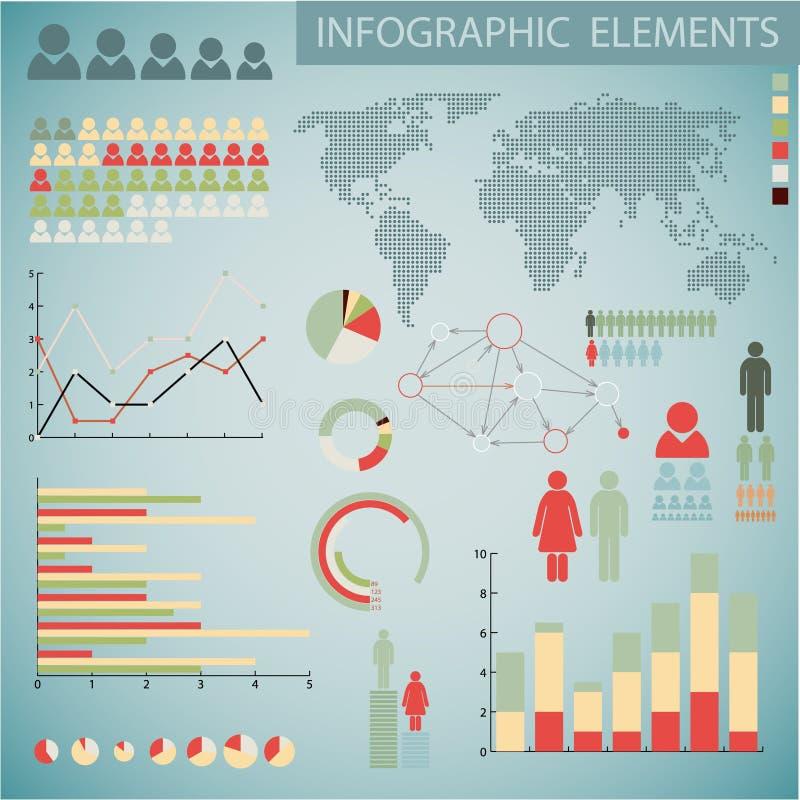 infographic retro setvektor för stora element royaltyfri illustrationer