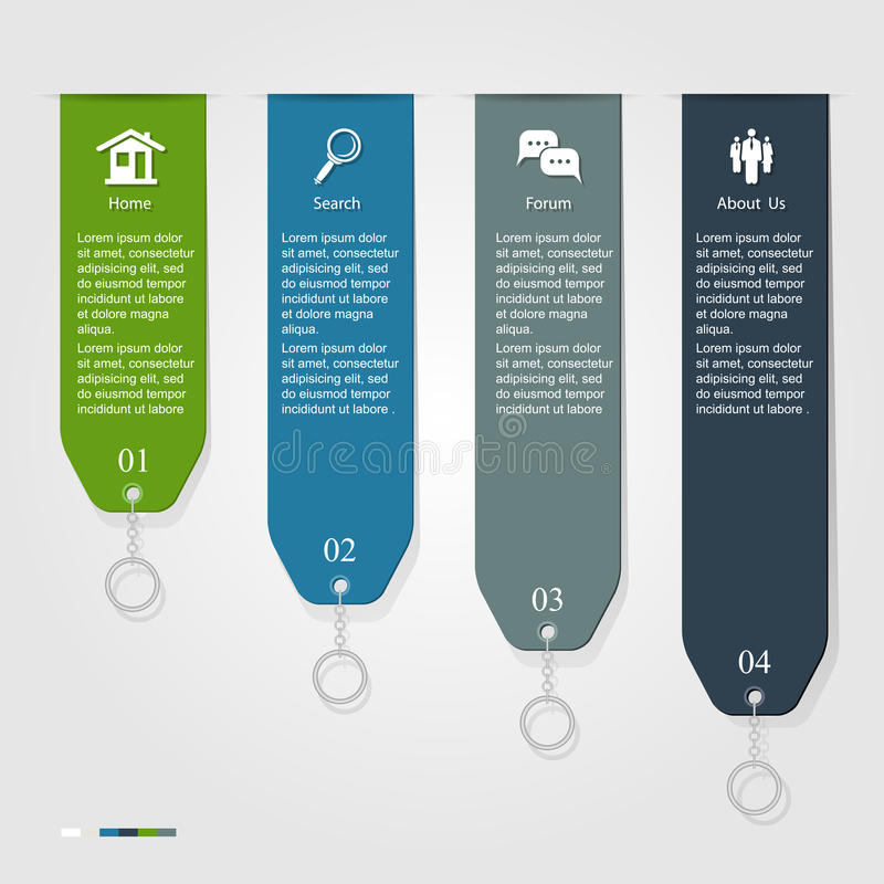 Infographic ribbon. Modern Infographic ribbon, can be used for numbered banners, diagram, vertical cutout lines, number options, step up options, web template stock illustration