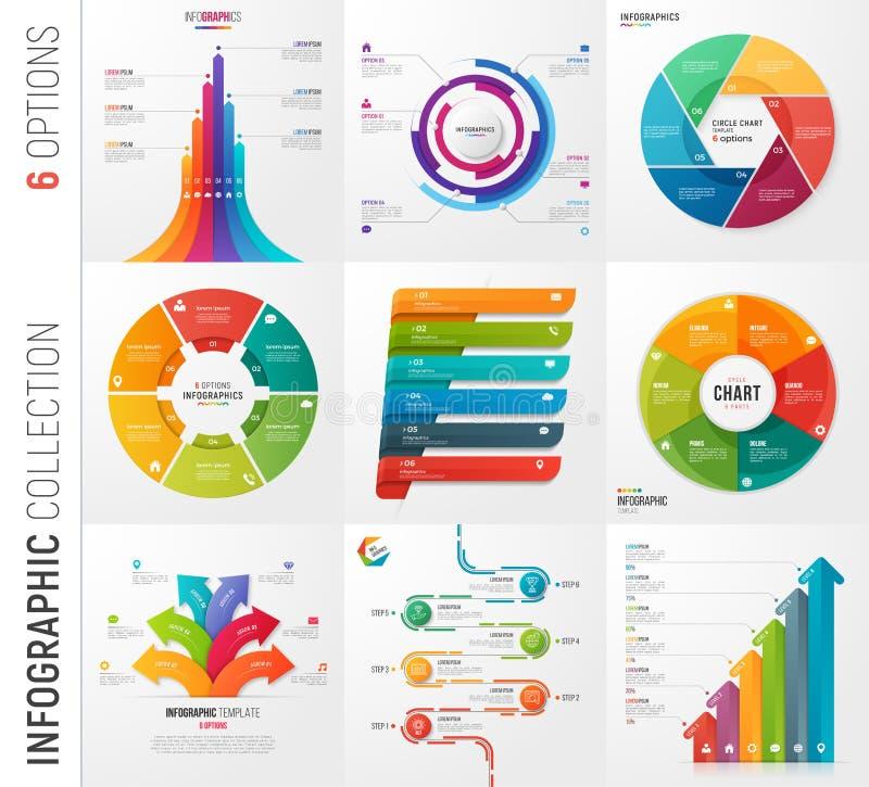 Infographic-Sammlung von 6 Wahlen vector Schablonen für Geschenk vektor abbildung