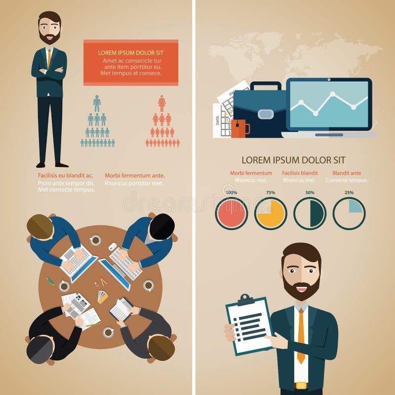 Infographic Satz der Teamwork mit Geschäftsavataras und Weltkarte vector Illustration lizenzfreie abbildung