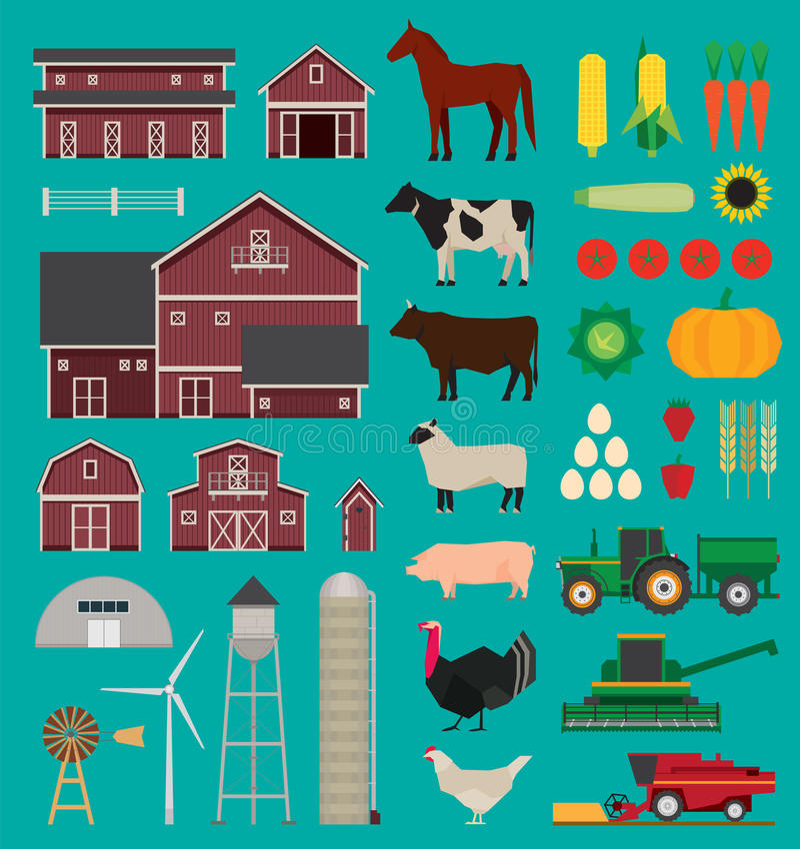 Infographic Satz des Bauernhofes stock abbildung